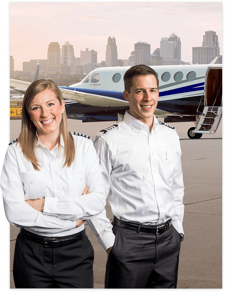 2 pilots in front of a King Air 350i